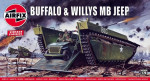 Amphibious vehicle LVT Buffalo and Willys MB Jeep (2 model kits in the box)